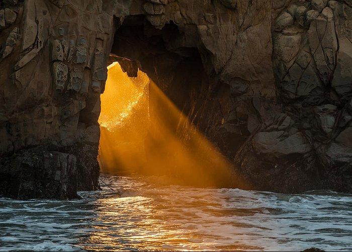 Big Sur Greeting Card featuring the photograph Sunset At Pfeiffer Beach by George Buxbaum