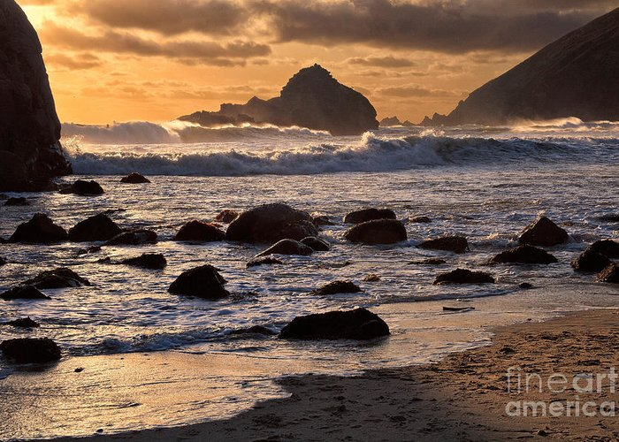 Beaches Greeting Card featuring the photograph Sunset At Pfeiffer Beach by Stuart Gordon