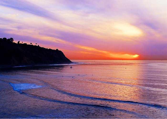 Sunset At Pv Cove Greeting Card featuring the photograph Sunset At Pv Cove by Ron Regalado