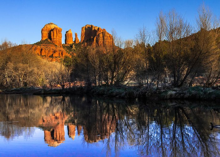 Arizona Greeting Card featuring the photograph Sunset At Red Rocks Crossing In Sedona Az by Teri Virbickis