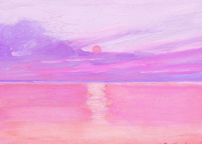 Seas Greeting Card featuring the painting Sunset At Sea by J Reifsnyder