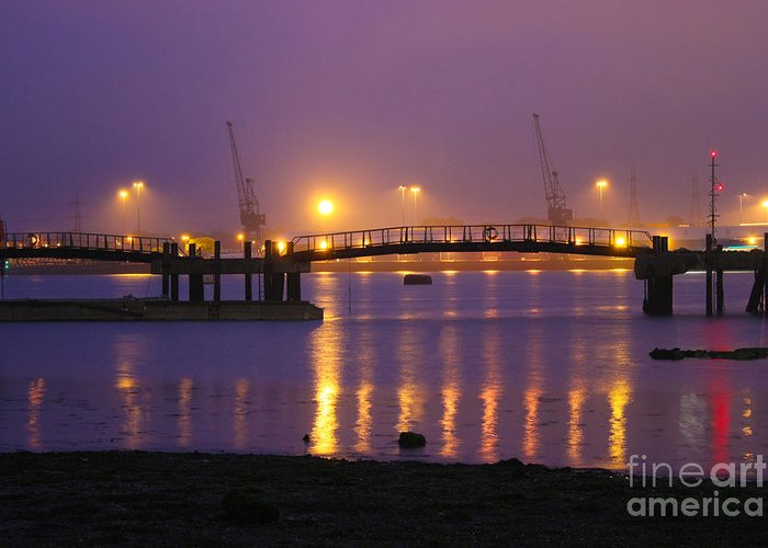 Southampton Docks Greeting Card featuring the photograph Sunset At Southampton Docks by Terri Waters