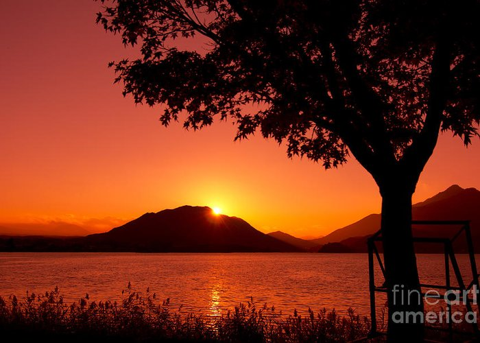 Sun Setting Behind A Mountain Greeting Cards