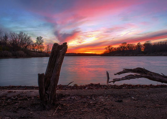 Hdr Greeting Card featuring the photograph Sunset At The Lake by Thomas Sellberg