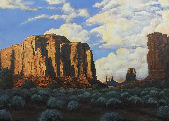 Landscape Greeting Card featuring the painting Sunset At The Window Monument Valley by Timithy L Gordon