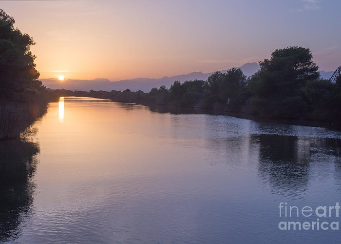 Albufeira Greeting Card featuring the photograph Sunset By Canal by Ingela Christina Rahm