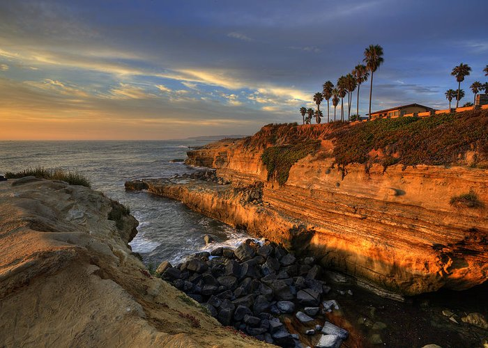 Clouds Greeting Card featuring the photograph Sunset Cliffs by Peter Tellone