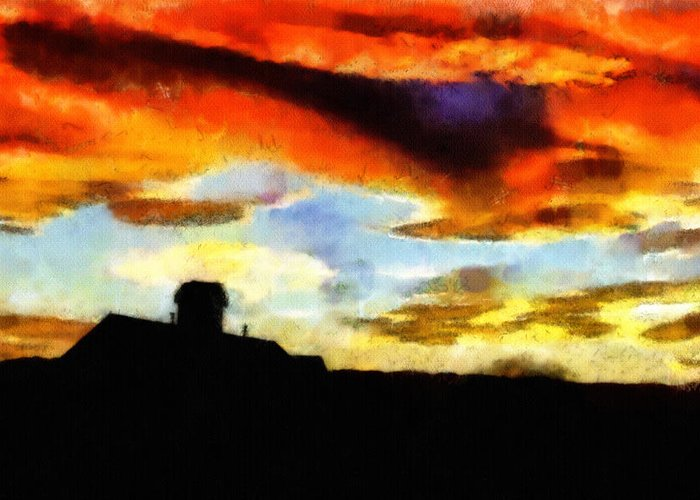 Clouds Greeting Card featuring the painting Sunset Colours by Ayse and Deniz