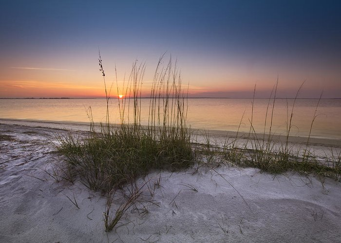 Clouds Greeting Card featuring the photograph Sunset Dunes by Debra and Dave Vanderlaan