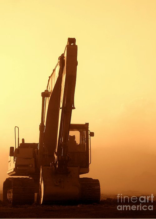 Excavator Greeting Card featuring the photograph Sunset Excavator by Olivier Le Queinec