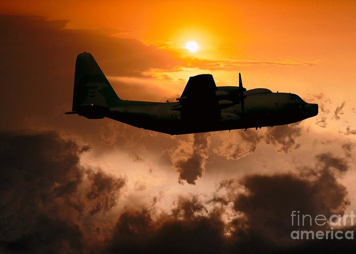 Lockheed Greeting Card featuring the photograph Sunset Flight C-130 by Wernher Krutein