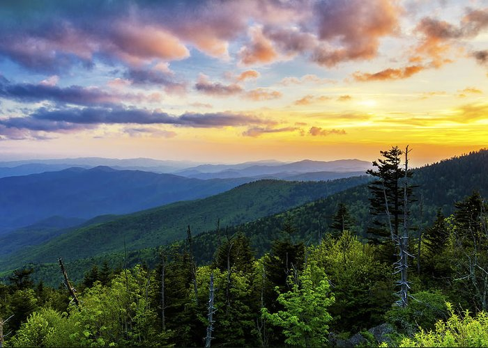 Clingmans Dome Greeting Card featuring the photograph Sunset From Clingmans Dome by Anthony Heflin