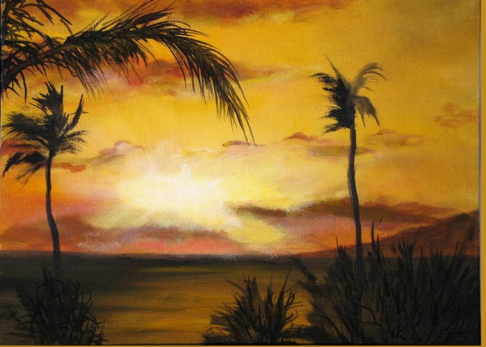 From The Maui Sunset Resort Greeting Card featuring the painting Sunset from the balconey by Thomas Restifo