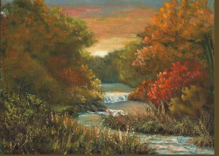 Sunset Greeting Card featuring the painting Sunset Glow by Sharon E Allen