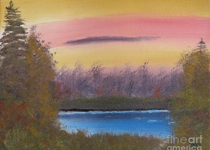 Landscape Greeting Card featuring the painting Sunset Haze by Dave Atkins
