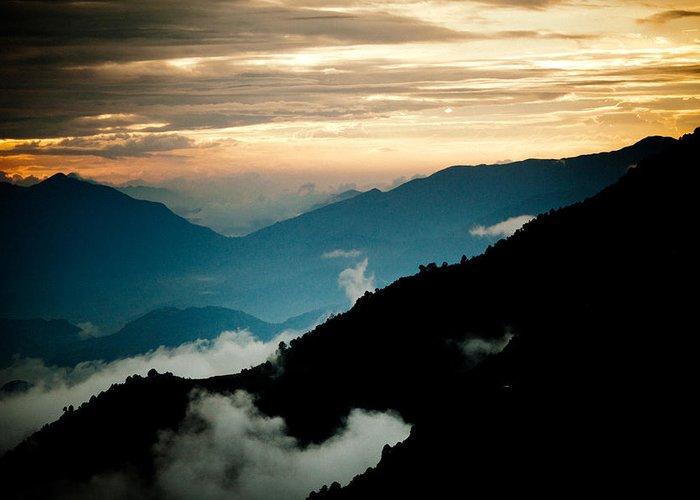 Gosaikunda Greeting Card featuring the photograph Sunset Himalayas Mountain Nepal Panaramic View by Raimond Klavins