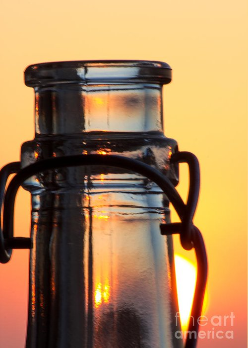 Abstract Greeting Card featuring the photograph Sunset In A Bottle by Christos Koudellaris