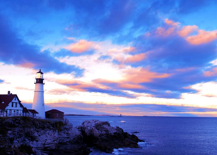 Sunset Greeting Card featuring the photograph Sunset In Fork Williams Lighthouse Park Portland Maine State by Paul Ge