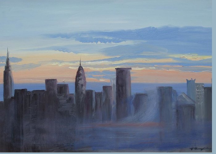 New York Greeting Card featuring the painting Sunset In New York by Patricia Kimsey Bollinger