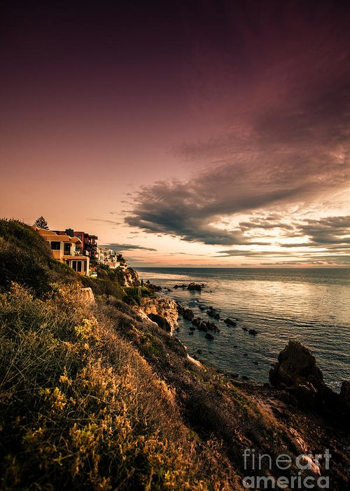 Fine Art Print For Sale Greeting Card featuring the photograph Sunset In Newport Beach by Sviatlana Kandybovich