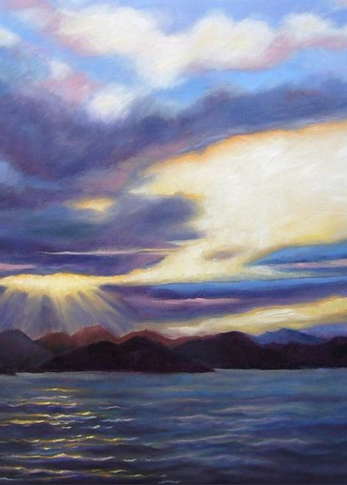 Sunset Greeting Card featuring the painting Sunset In Norway by Janet King
