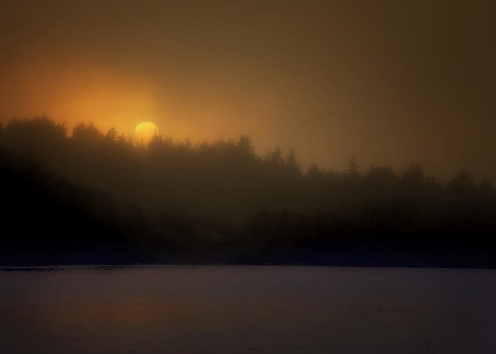 Maine Greeting Card featuring the photograph Sunset In The Fog by Mikael Carstanjen