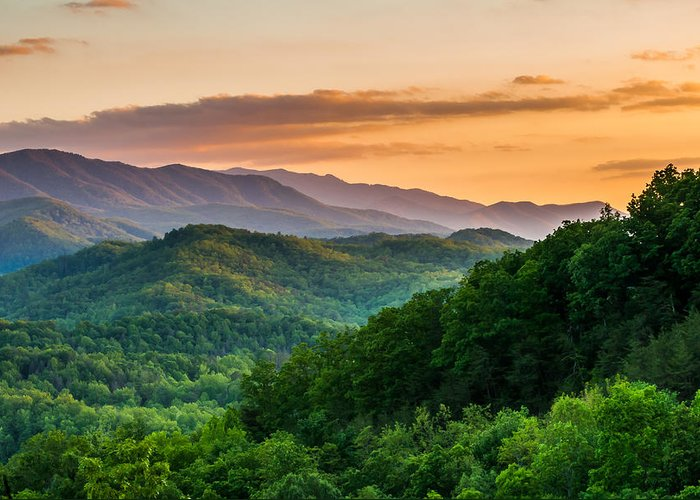 Smoky Mountains Greeting Card featuring the photograph Sunset In The Smoky's by Paul Johnson