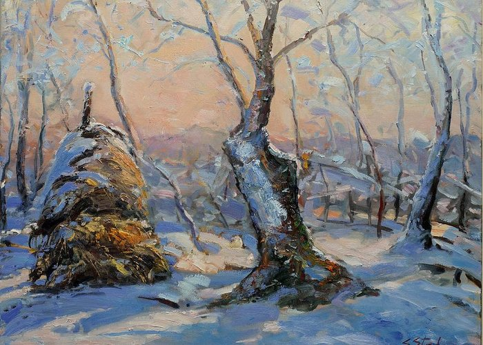 Landscape Greeting Card featuring the painting Sunset In The Winter by Sefedin Stafa
