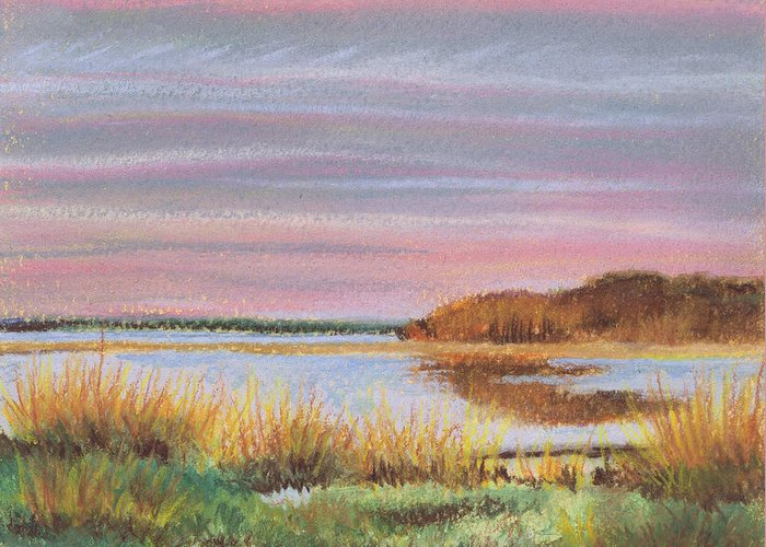 Beach Greeting Card featuring the painting Sunset Jessups Neck by Susan Herbst
