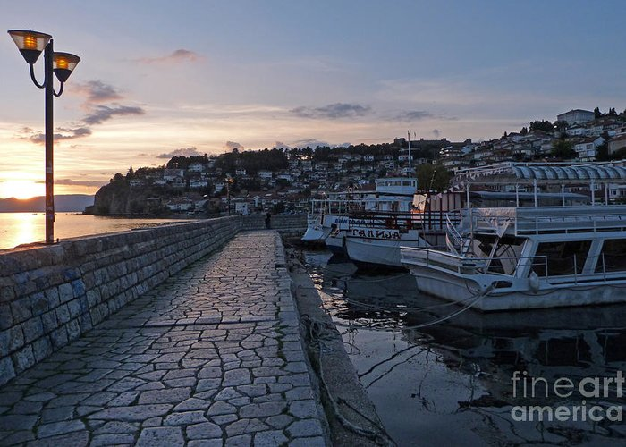 Sunset Greeting Card featuring the photograph Sunset - Ohrid - Macedonia by Phil Banks
