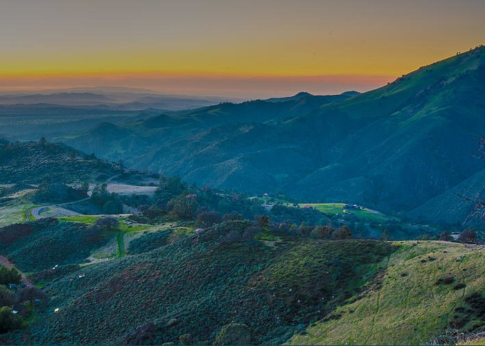 Sunset Greeting Card featuring the photograph Sunset On Figueroa Mountain by Paul Johnson