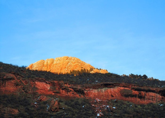 Mountain Sunset Greeting Card featuring the photograph Sunset On Horsetooth Mountain by Ric Soulen