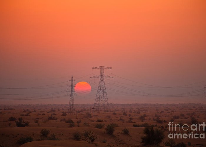 Cable Greeting Card featuring the photograph Sunset On Pylons In Dubai Desert by Fototrav Print