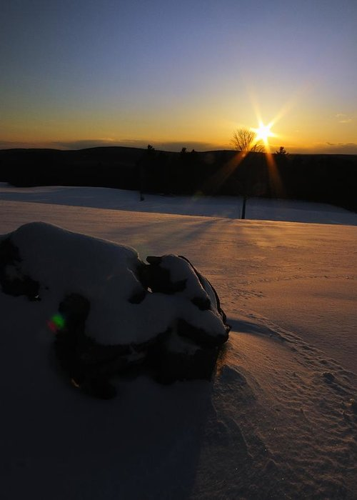 Sunsets Greeting Card featuring the photograph Sunset On Snow by J Scott Davidson