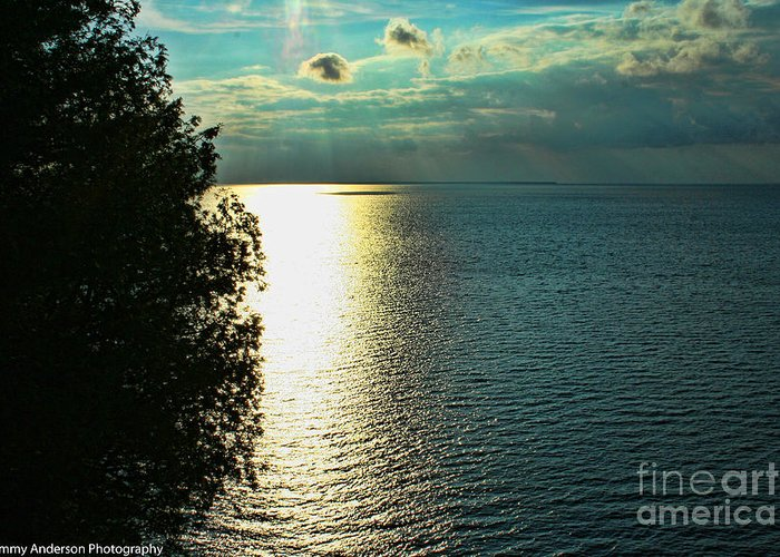 Sunset Greeting Card featuring the photograph Sunset On The Bay Of Green Bay Wi by Tommy Anderson