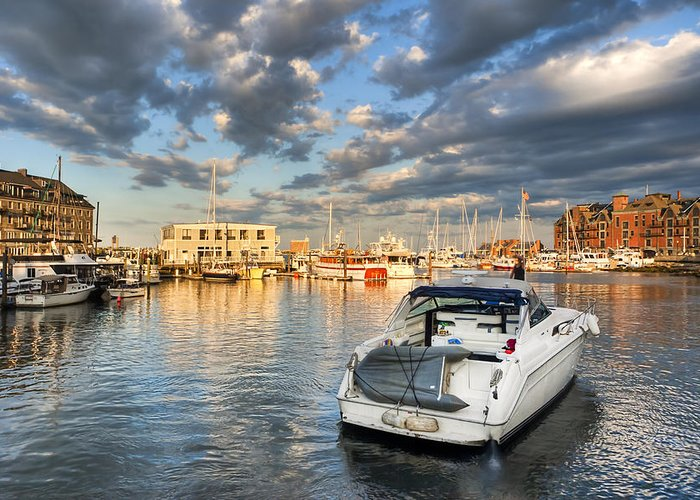 Boston Greeting Card featuring the photograph Sunset On The Boston Waterfront by Mark E Tisdale