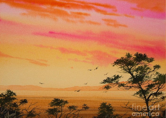 Sunset Print Greeting Card featuring the painting Sunset On The Coast by James Williamson