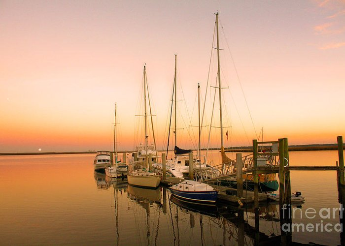 Boats Greeting Card featuring the photograph Sunset On The Dock by Southern Photo