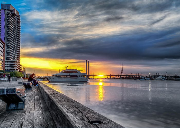 Melbourne Greeting Card featuring the photograph Sunset On The Docks by Paradigm Blue