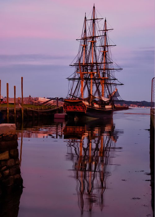 1797 Trader Greeting Card featuring the photograph Sunset On The Friendship Of Salem by Jeff Folger