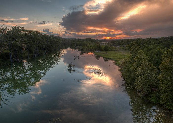 Guadalupe Greeting Card featuring the photograph Sunset On The Guadalupe River by Paul Huchton
