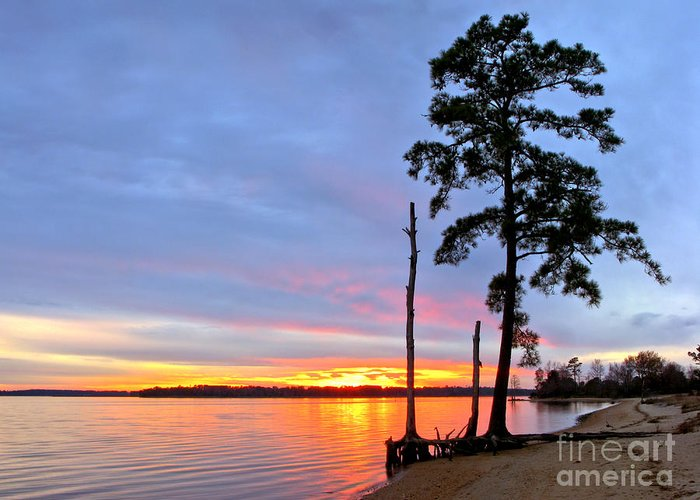 James River Greeting Card featuring the photograph Sunset On The James River by Olivier Le Queinec