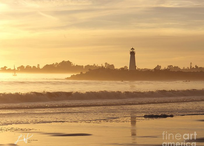 Capitola Greeting Card featuring the photograph Sunset On The Lighthouse In Santa Cruz Harbor by Artist and Photographer Laura Wrede