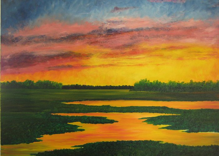 Water Greeting Card featuring the painting Sunset On The Marsh by Darla Brock