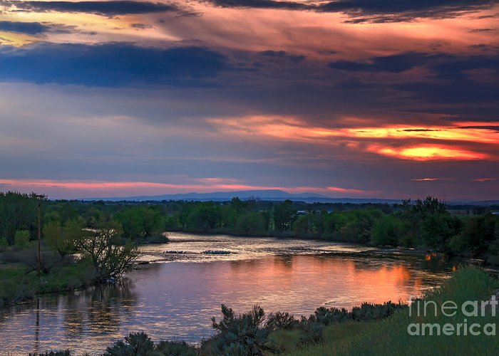 Sunset Greeting Card featuring the photograph Sunset On The Payette River by Robert Bales