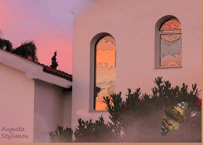 Sunset Greeting Card featuring the photograph Sunset On Windows by Augusta Stylianou