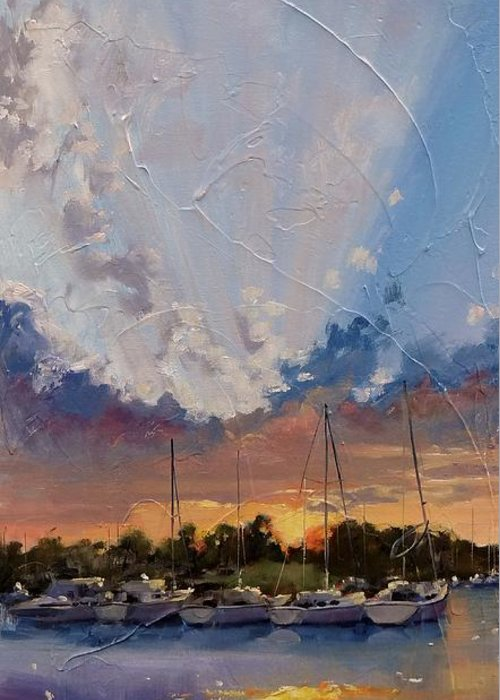 Sunset Greeting Card featuring the painting Sunset Over Bay Point by Laura Lee Zanghetti