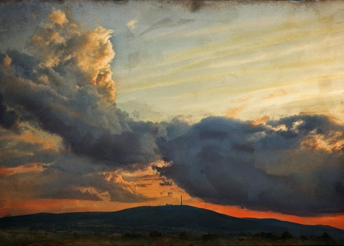 Digital Painting Greeting Card featuring the photograph Sunset over Holy Cross Mountains by Anna Gora