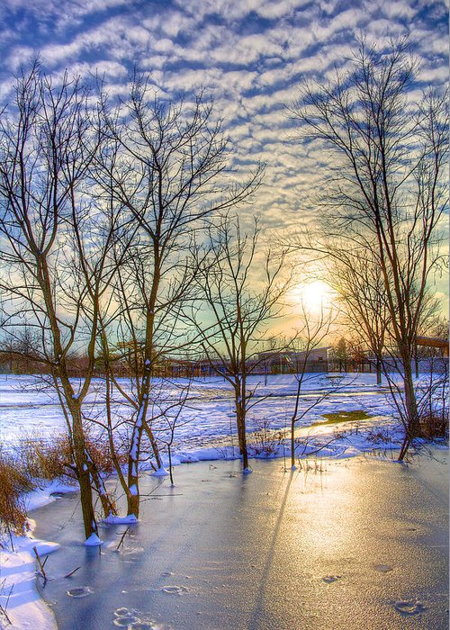 Winter Greeting Card featuring the photograph Sunset Over Ice by William Wetmore