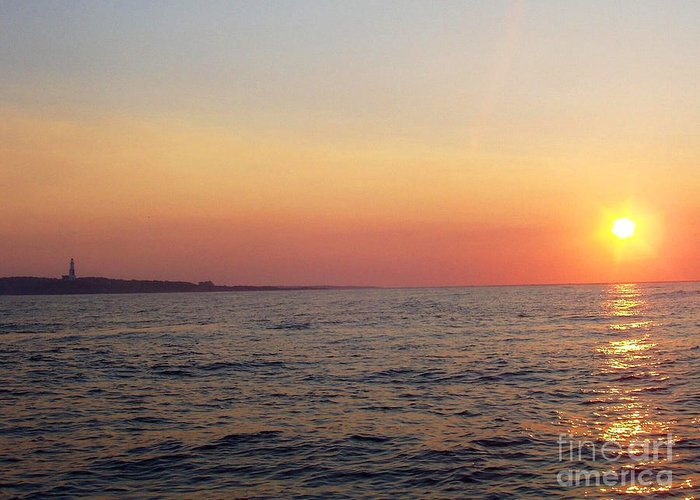 Sunset Over Montauk Greeting Card featuring the photograph Sunset Over Montauk by John Telfer